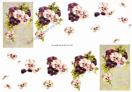 Edwardian Pansy Flowers 3d Decoupage Sheet
